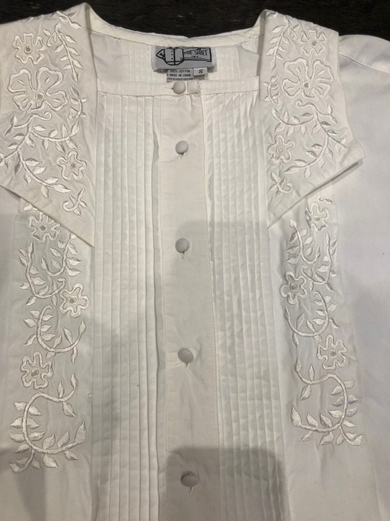 Pure White 80s Victorian Revival Blouse - image 3