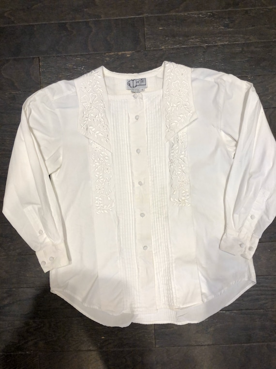 Pure White 80s Victorian Revival Blouse - image 2