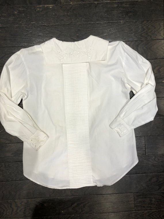 Pure White 80s Victorian Revival Blouse - image 4