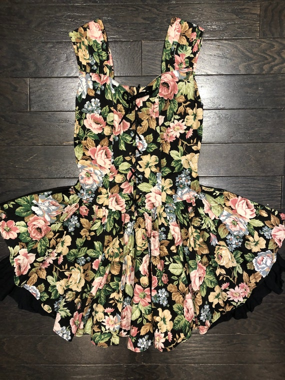 1980s Floral Mini Dress with Full Skirt