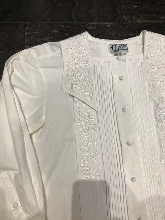 Pure White 80s Victorian Revival Blouse - image 8