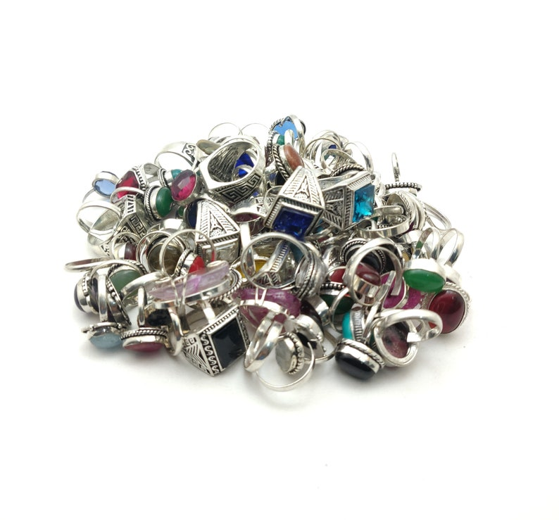 925 Silver Overlay Womens Fashion Rings Wholesale Lot 1-100 Pieces~ Mix Stone Rings lot~ Mix Sizes