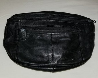 5862009539a6f Leather fanny pack/ vintage waist pouch/travel waist bag/small bag/black  leather pouch/waist bag