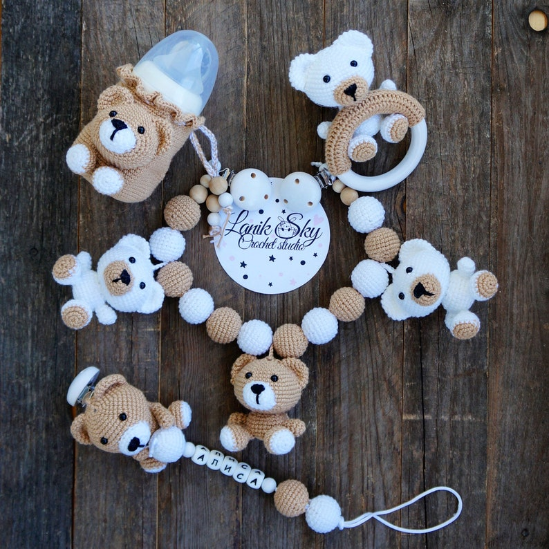 Set PDF patterns My little Bear  Stroller Chain Baby Rattle image 0