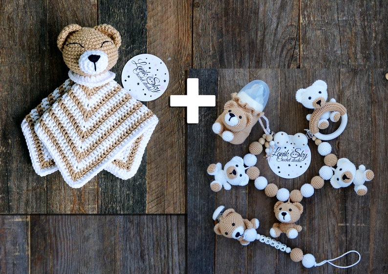 Set PDF patterns My little Bear  Stroller Chain Baby Rattle image 0