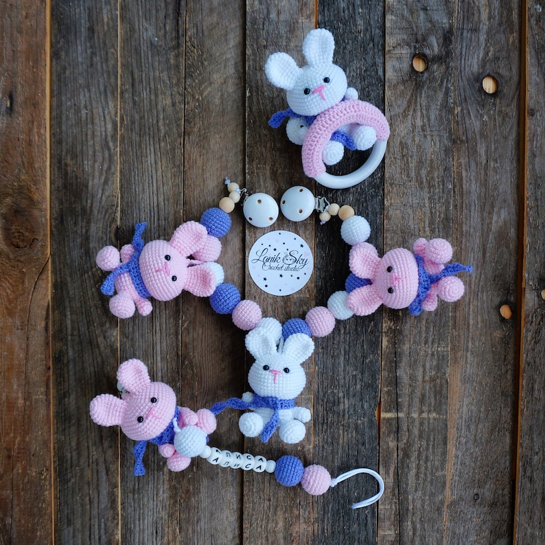 Set PDF patterns Bunny Beam  Stroller Chain Baby Rattle and image 0