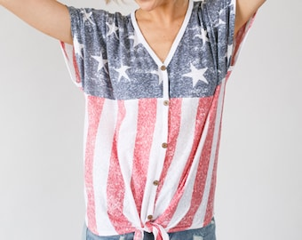 ba24a49be America The Beautiful® Stars and Stripes Flag Self Tie Button Down Top