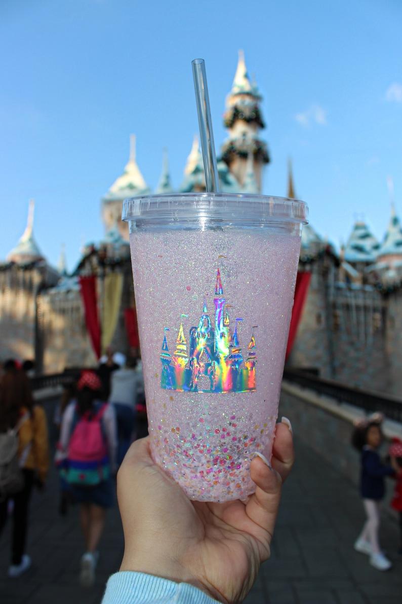 Disney Holographic Castle Glitter Epoxy Tumbler with Straw / 16oz BPA Free  Double Wall Acrylic Tumbler / Glitter Tumbler / Pink Tumbler