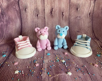 Cake decoration for a gender reveal party *bear made of fondant, decoration for birth, baby shower or baptism (different variants available)