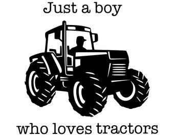 Amdesco Just A Boy Who Loves Tractors Toddler Sweatshirt