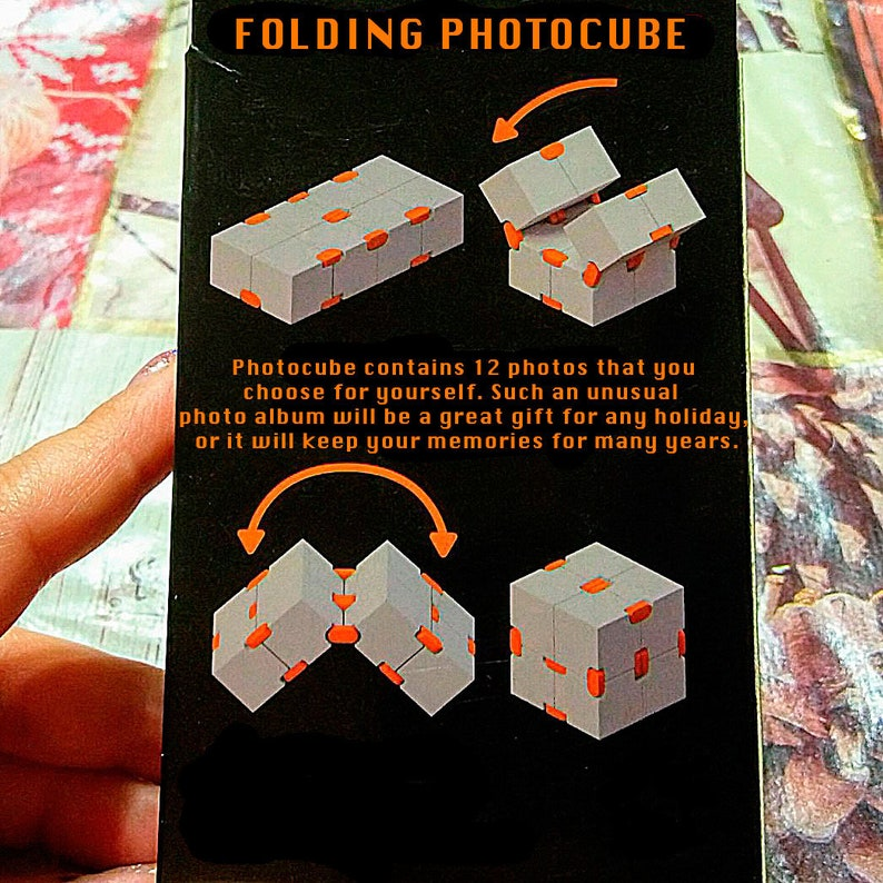 Magic Folding Photo Cube Transformer, Photo Block, Photo Puzzle,  Valentine's Day Gifts Idea, Folding Photo Cube, Custom Photo, Photo Album