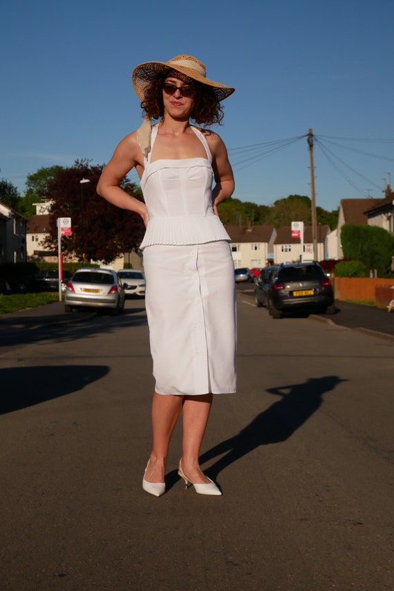 Vintage glam midi wiggle dress   White peplum penc