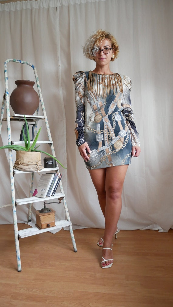 Vintage 80's puff sleeves chain mini dress   Suede