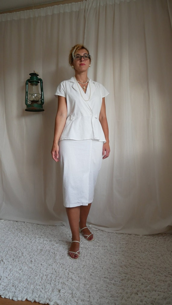 Vintage 50's style Etam wiggle dress | White cotto