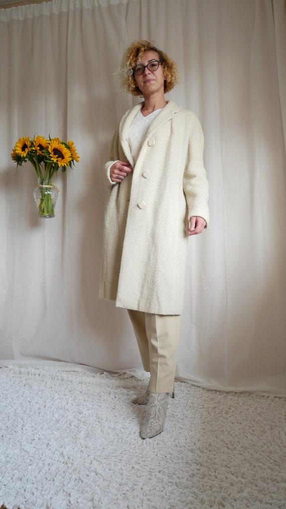 Vintage 50's Selfridges ivory boucle coat