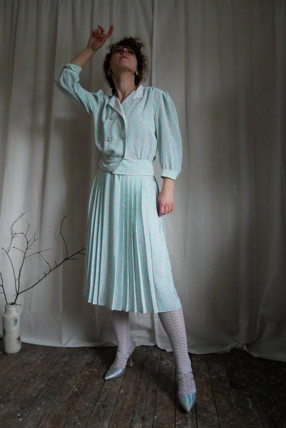 Vintage 80's 'Berkertex' skirt suit | Floral pleat
