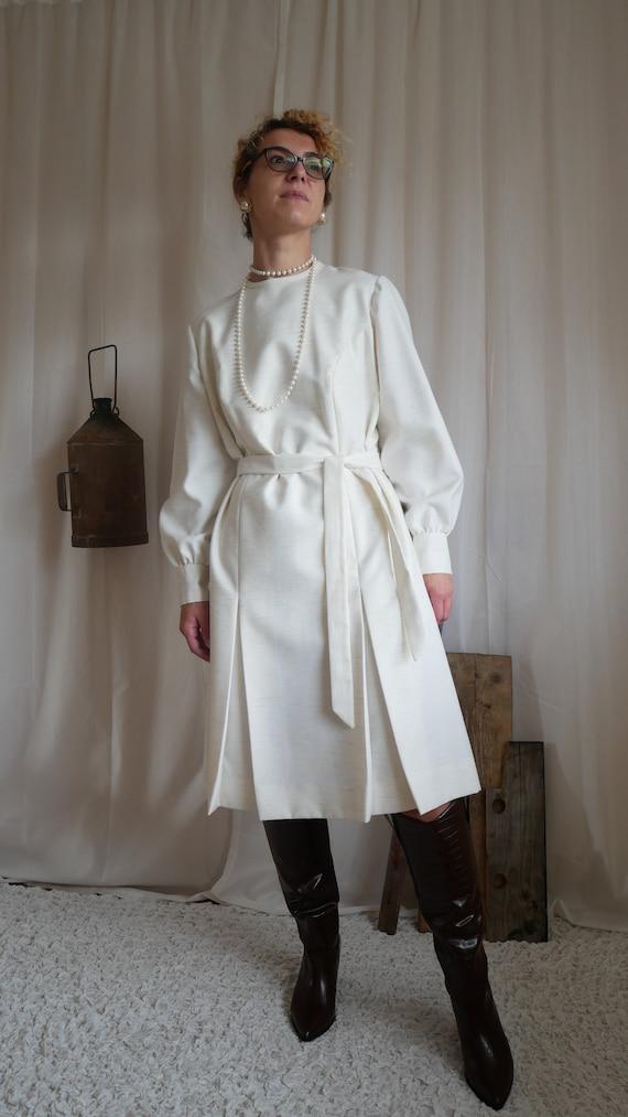 Vintage 70's Trevira ivory pleated midi dress | Wo