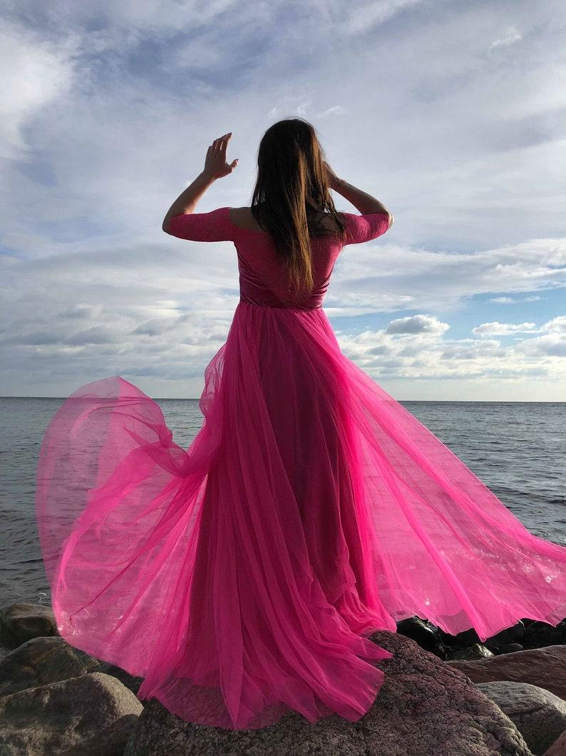 Pink Tutu  DressesTulle Dress Long Floor LengthBridesmaid dress Lace Lace woman dress Pink bridesmaid dressDress Prom Dress  pink