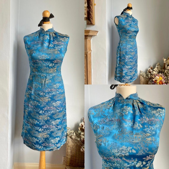 Vintage Cheongsam / Qipao Chinese Turquoise Blue D