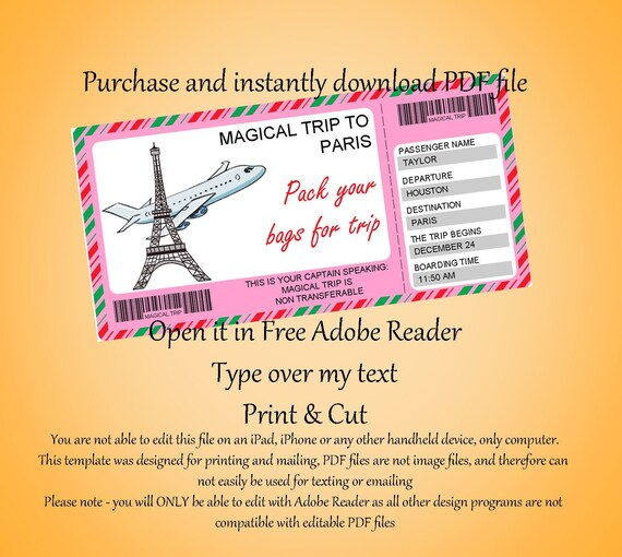Printable Ticket To Paris Boarding Pass Tickets Cruise Ticket Surprise Christmas Trip Pass Vacation Surprise Ticket Disney Ticket Instant