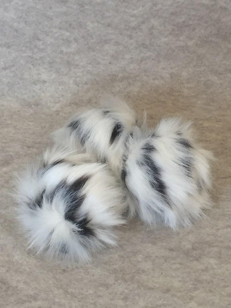 White Pompom with black roots Faux Fur Pompom short fur Pompom Smol Boi BOH Poms Thicc Boi fun poms, Just Boi DITTYBOPPER