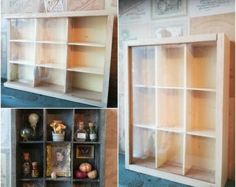 Wooden Display Box - 9 compartments. With a glass sliding lid - Miniatures Dollhouse Shadowbox Oddities - for Mini Cabinet of Curiosities