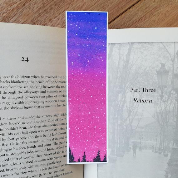 Purple Bookmark Watercolor Sky Cute Bookmark Pretty Etsy