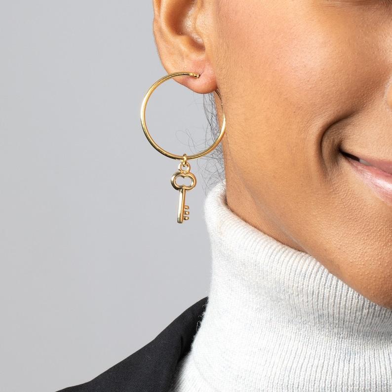 454c7ee39cc57 Hoop Key Earring, Large Dangle Hoop Earring, Charm Hoop Earring Gold, Thin  Big Hoop Earring, key Hoop Earring, Single Hoop Earring,Drop Hoop