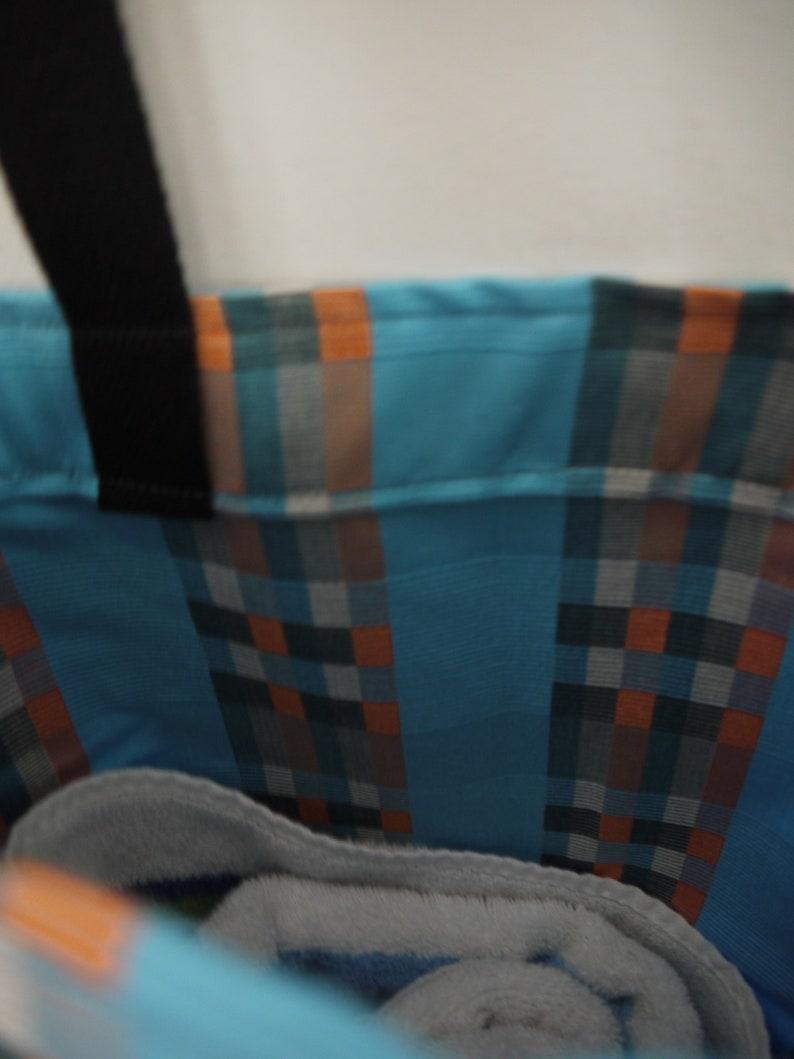 Black Handles Blue with Three Colored Stripes tote bag