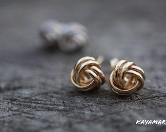 410bb0fb8 14K LOVE KNOT Yellow/White Gold Orb Earrings
