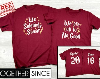 4d9bb4c1 We Solemnly Swear We Are Up To No Good Together Since Custom Couples Matching  Shirts Harry Potter Inspired