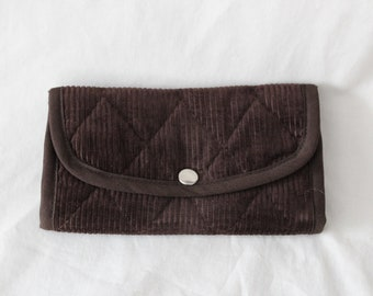 d0ab9294f Fabric wallet, Corduroy wallet, Trifold, Washable, Snap Close, 2 zipper  pockets, 7 inches wide