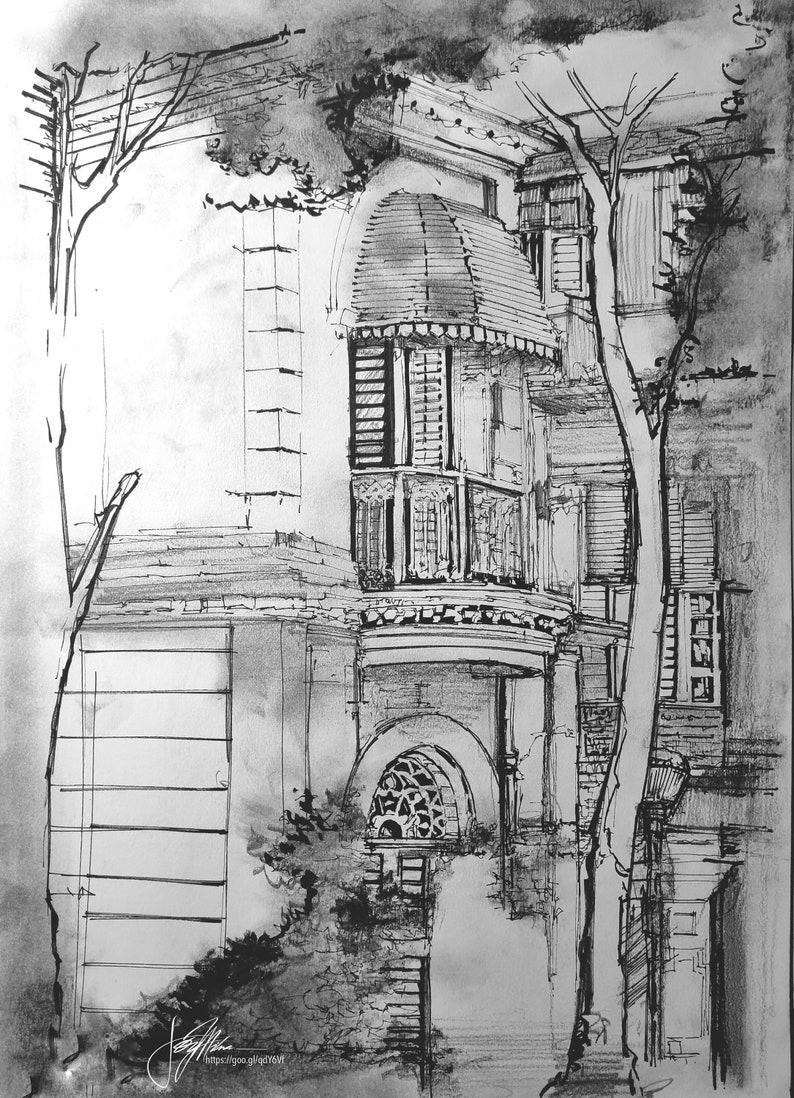 Kolkata eternity 4 5 jorasanko thakur bari in ink charcoal graphite and acrylic a3 11 x 16