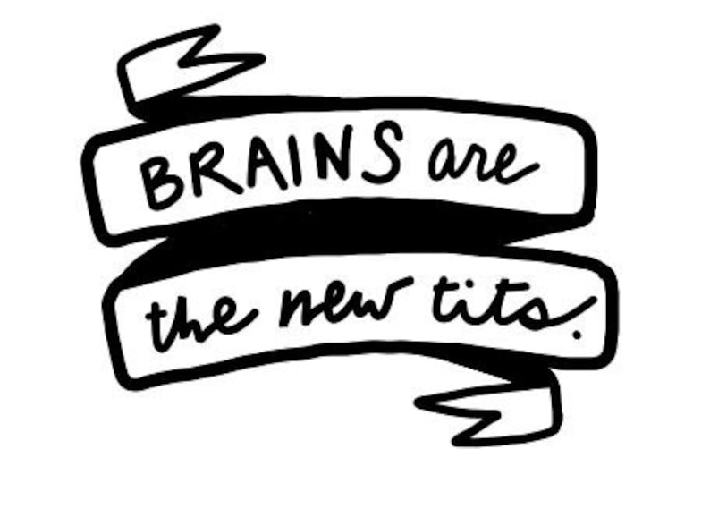 Brains are the new tits sticker image 0