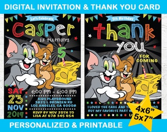 Tom And Jerry Invite Etsy