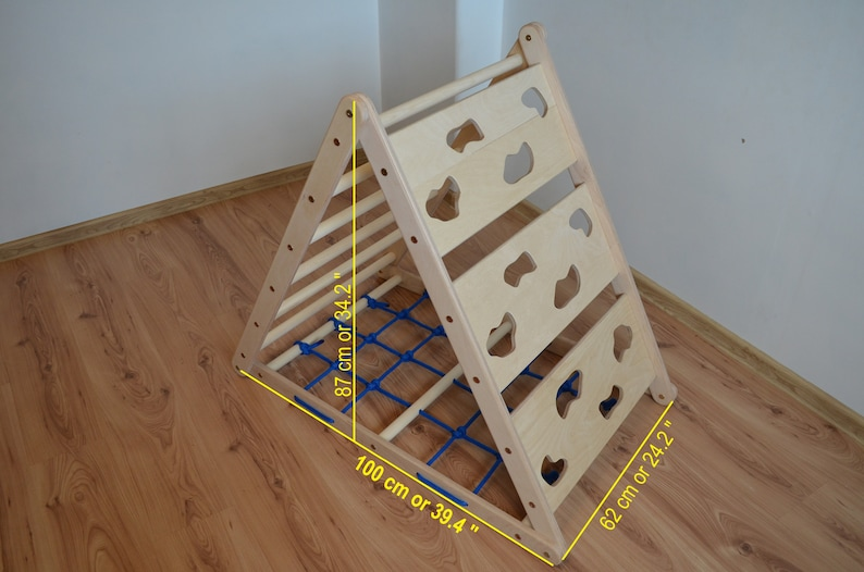 3-sided Climbing Triangle  Climbing structure  Kids Climbing  Toy For Movement Development  Rock Wall  Rope Wall  Ladder