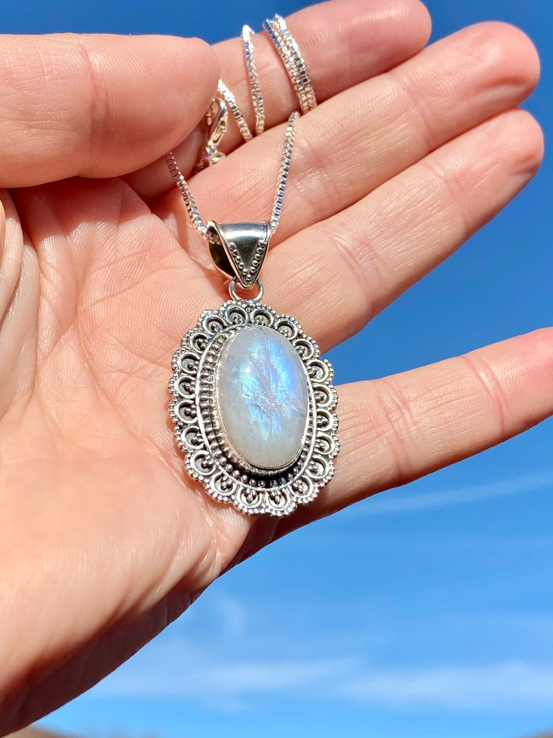 Victorian Rainbow Moonstone Pendant In Sterling Silver