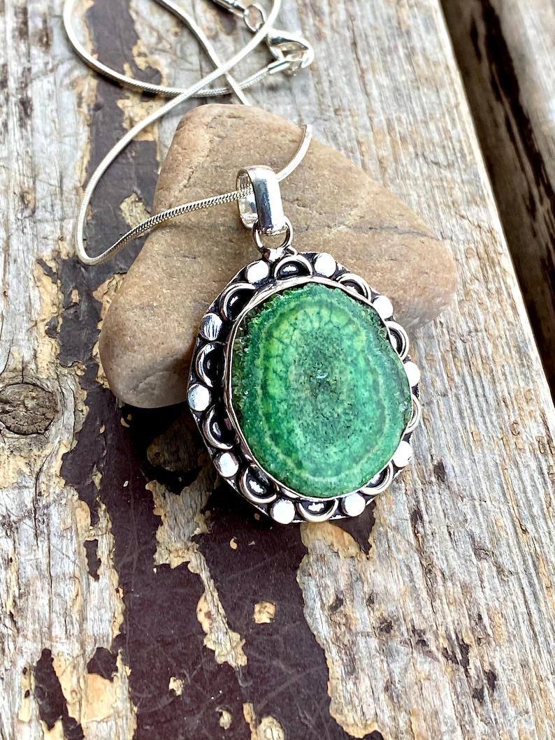 Green Solar Quartz Silver Necklace