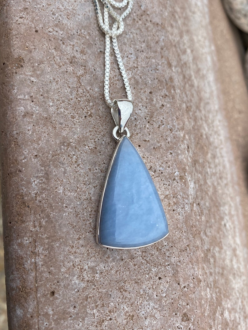 Angelite Necklace In 925 Sterling Silver