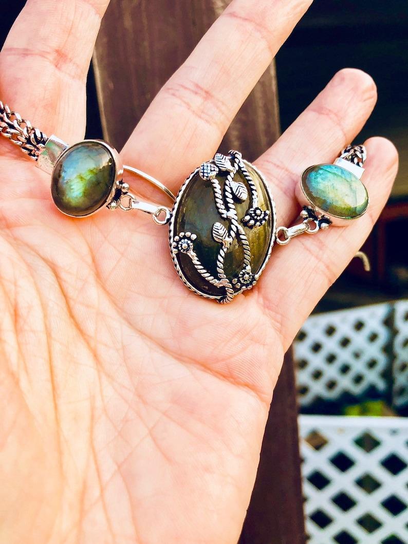 Resplendent Natural Labradorite Silver Bracelet