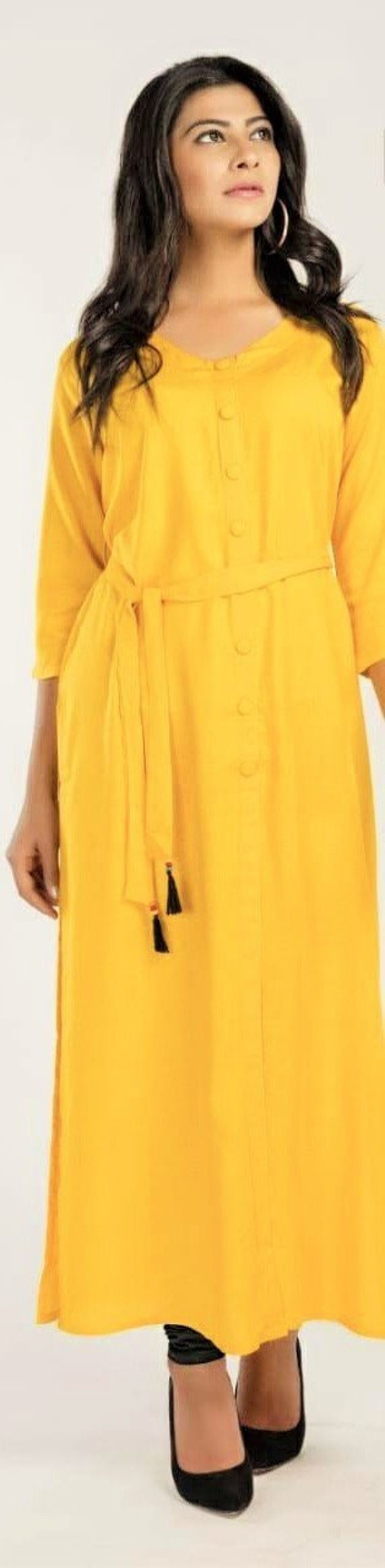 Yellow Long Kurti Dress