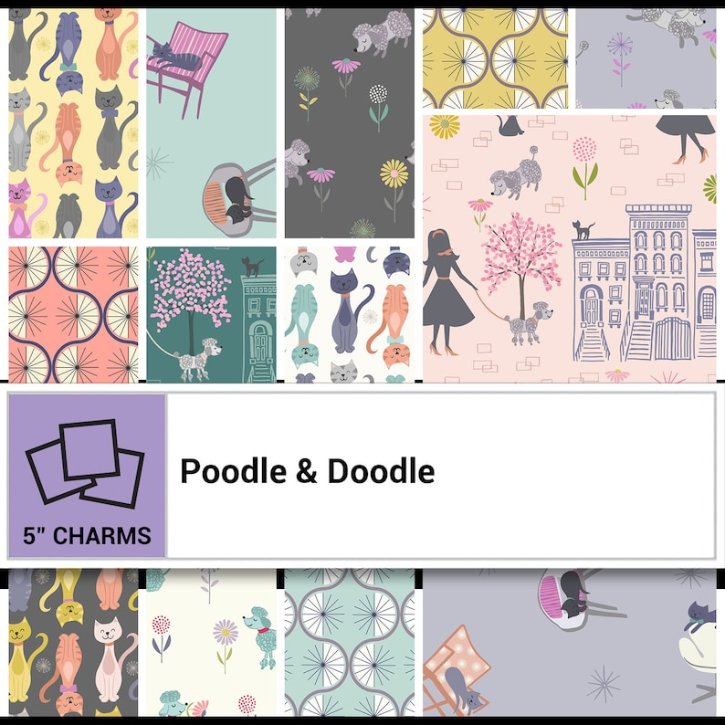 Lewis /& Irene Poodle and Doodle Charm Pack with 42 5 Charms
