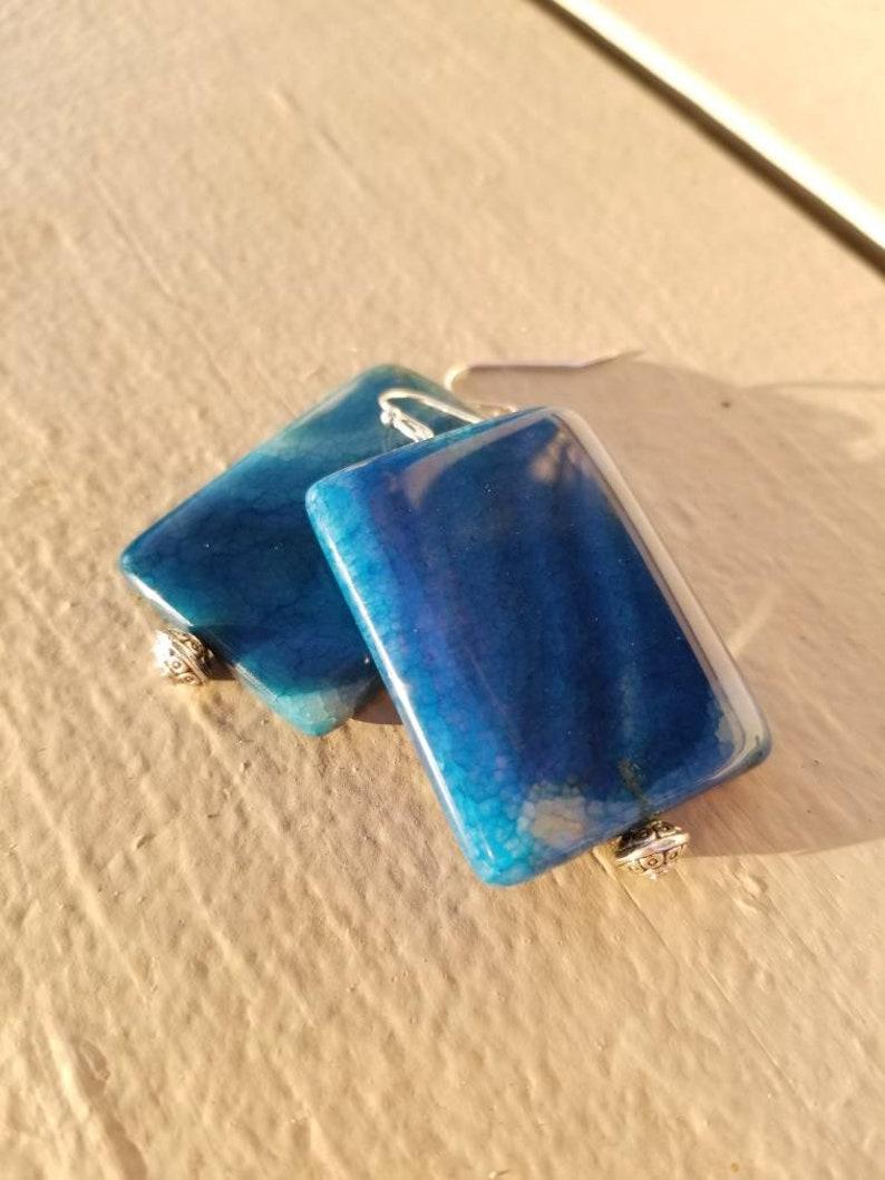 Blue Earrings Dangle Earrings Drop Earrings Aqua Agate Crystal Earrings Gemstone Earrings Earrings Agate Earrings Crystal Earrings