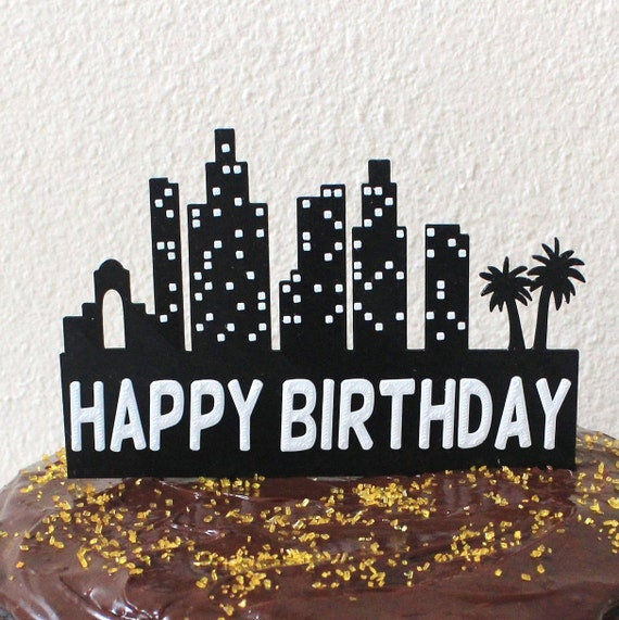 Edible Night City Skyline Silhouette Cake Topper