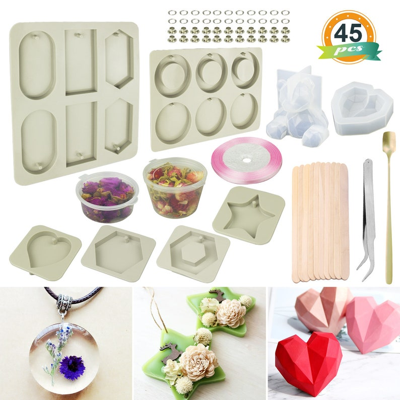 1Set Silicone Resin Casting Molds Jewelry Making Epoxy Resin Moulds with 30Pcs Pendant Trays DIY Craft Include Square,Round,Oval,Teardrop,Heart