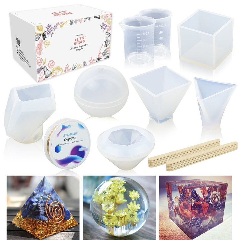 with Mixing Cups and Sticks 12 Pack Silicone Epoxy Resin Craft Molds Includes Sphere//Cube//Diamond//Pyramid//Stone Shapes//Water Drop//Rings for Jewelry Making Resin Casting Molds