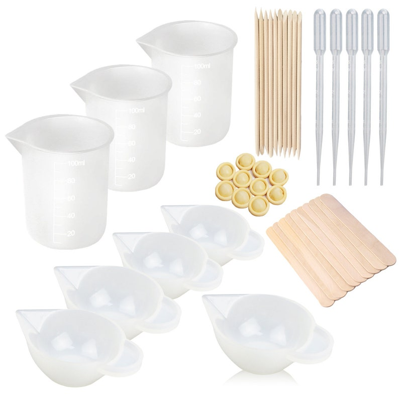 8PCS Silicone Mixing Cups for Resin 100ml 10ml, Nonstick Silicone Measuring  Cups, Epoxy Resin Cups - (E4-MSGJB-KK)