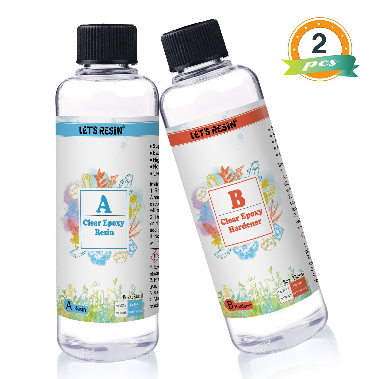 Clear Epoxy Resin - 1:1 Ratio Art Resin for Casting, Coating, Resin Crafts–  Non-Toxic -16 oz- (JY-ABJ11BL-K)