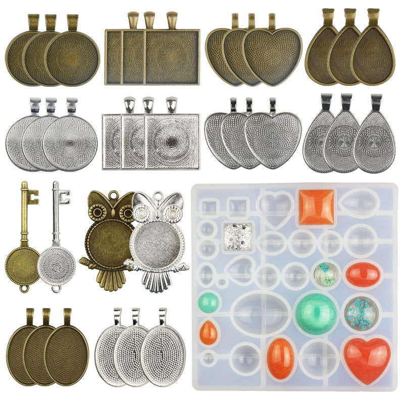 30 Pieces 5 Styles Pendant Trays Round /& Square /& Heart /& Teardrop /& Oval,and 1 Pcs Silicone Resin Jewelry Casting Molds for Pendant Crafting DIY Jewelry Gift Making