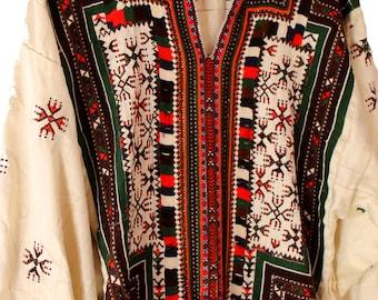Lovely Embroidered Folk Dress Handmade Ecuador Vintage Textile Art Horizontal Lines Floral Flowers Small Med Large Tunic Caftan Tie Waist